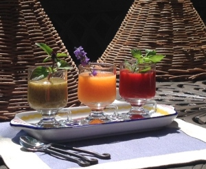 Flight of fruit purées.